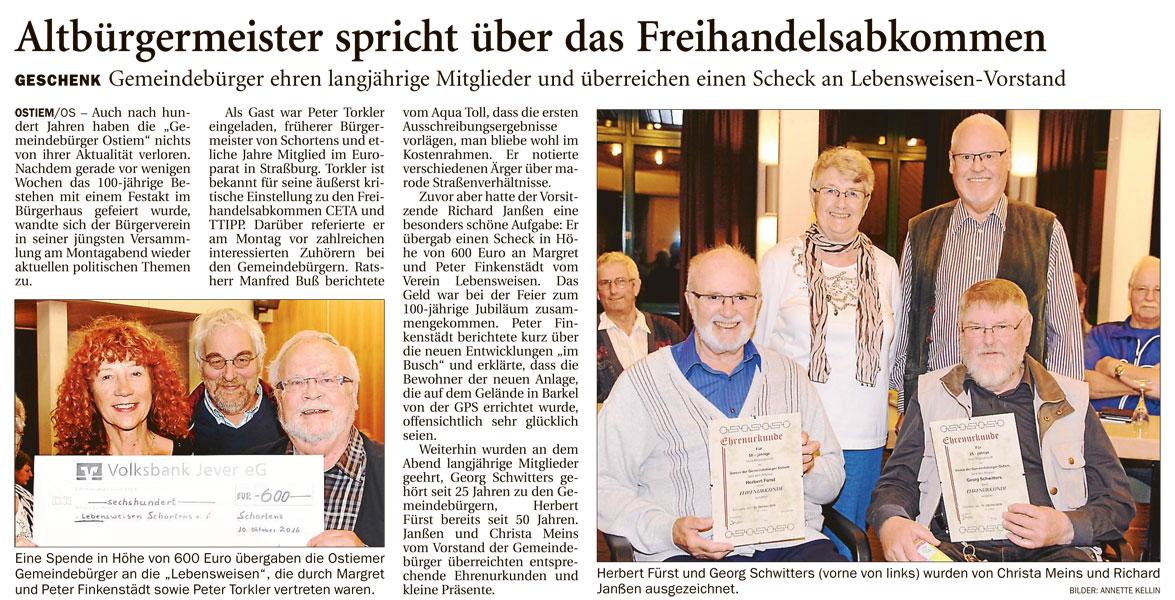 Artikel: Jeversches Wochenblatt – Friesisches Tageblatt